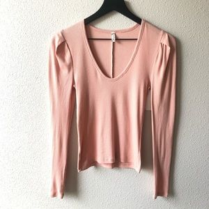 Free People Intimately Ballet Pink Long Sleeve Top